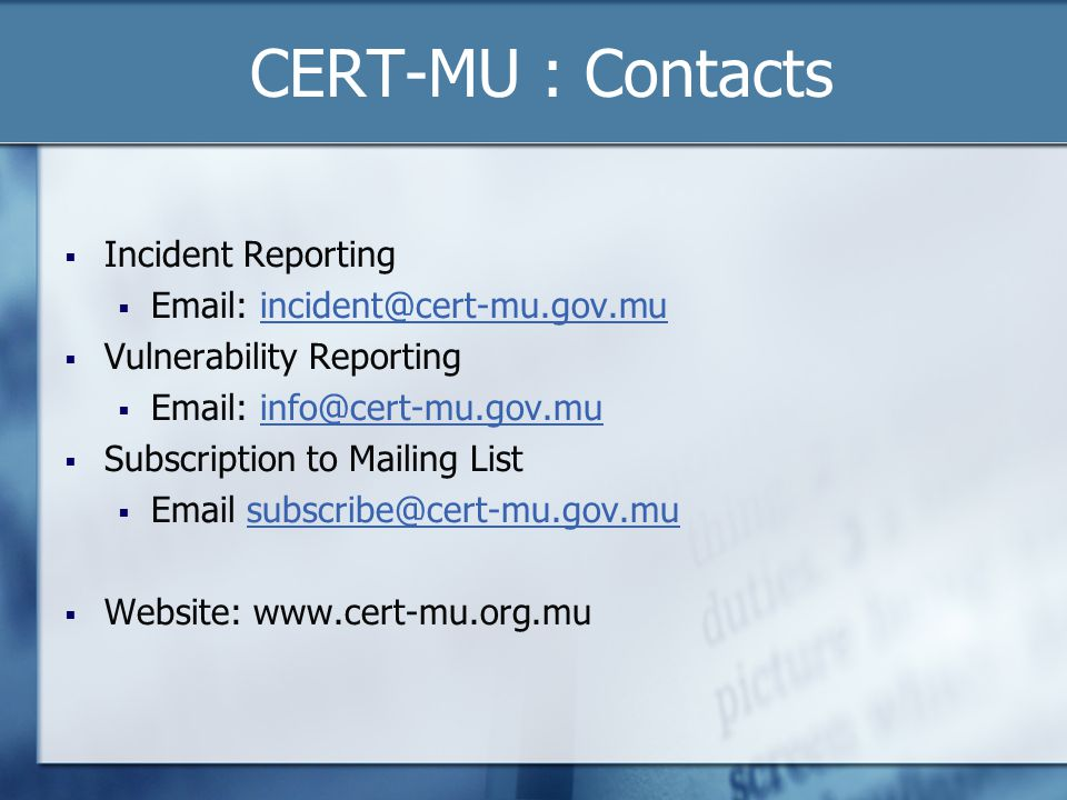 CERT-MU : Contacts Incident Reporting