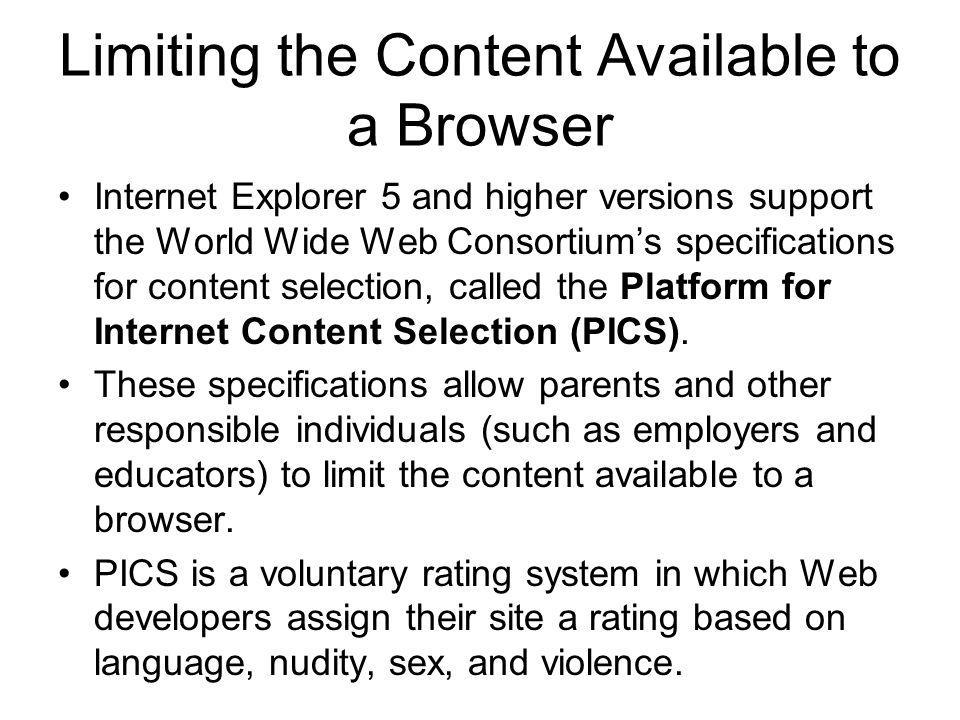 Limiting the Content Available to a Browser