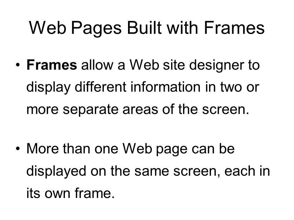 Web Pages Built with Frames