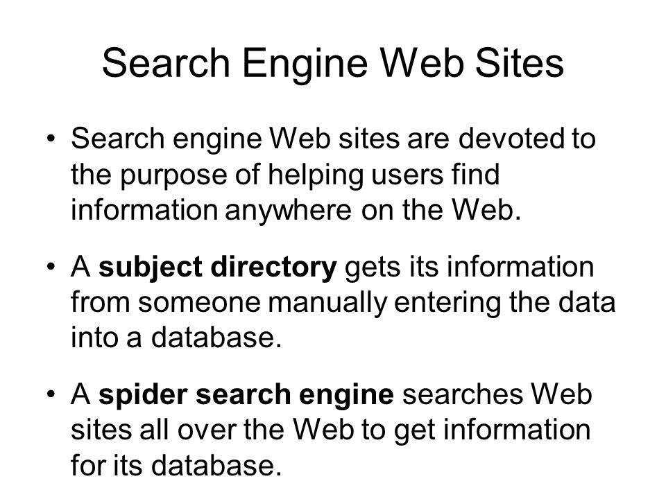 Search Engine Web Sites