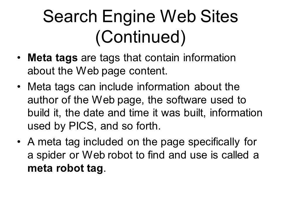 Search Engine Web Sites (Continued)