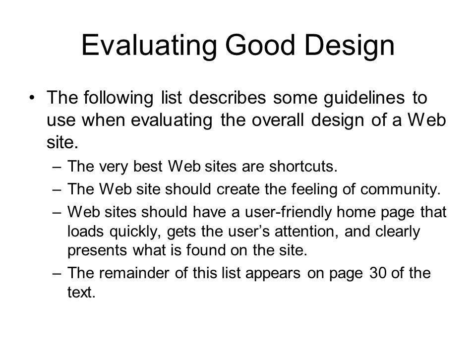 Evaluating Good Design