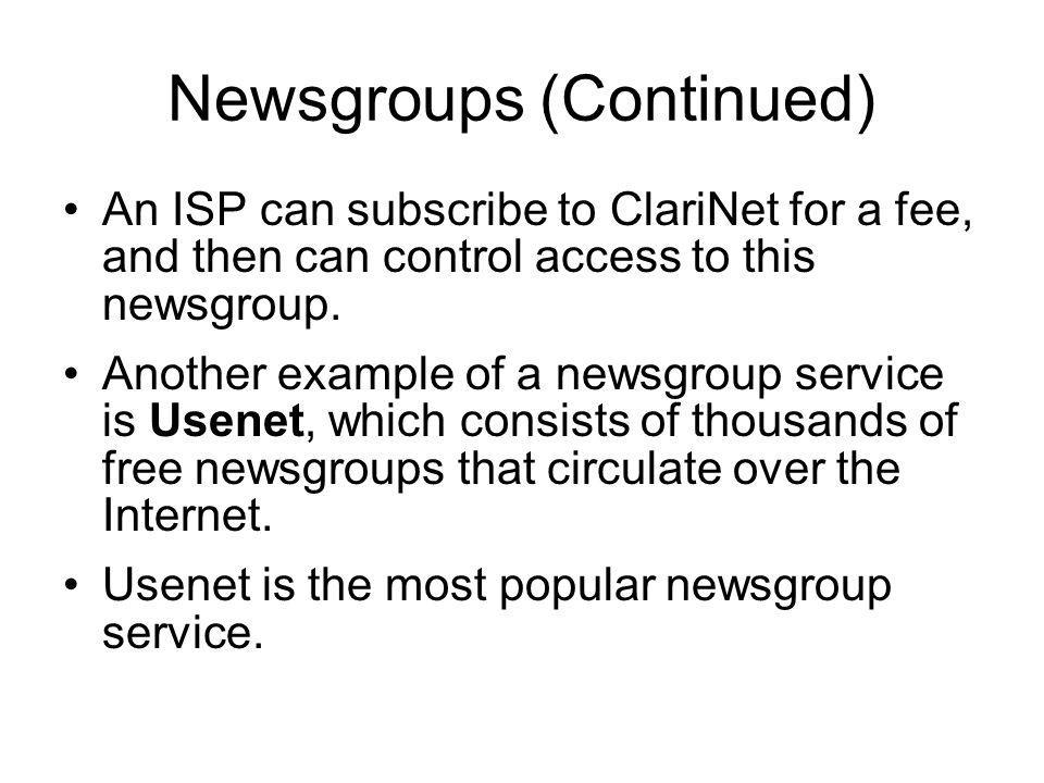 Newsgroups (Continued)