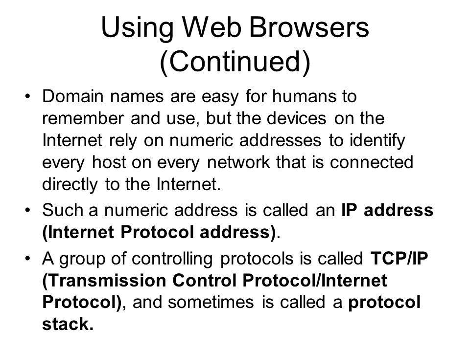 Using Web Browsers (Continued)