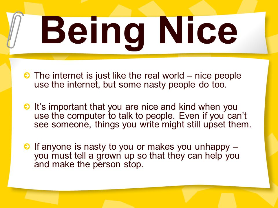 Being Nice The internet is just like the real world – nice people use the internet, but some nasty people do too.