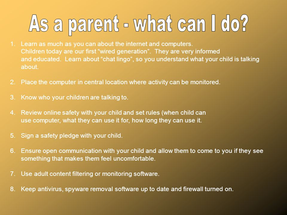 As a parent - what can I do