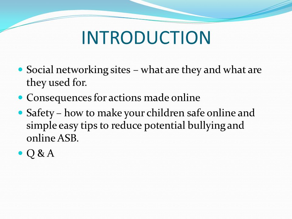 INTRODUCTION Social networking sites – what are they and what are they used for. Consequences for actions made online.