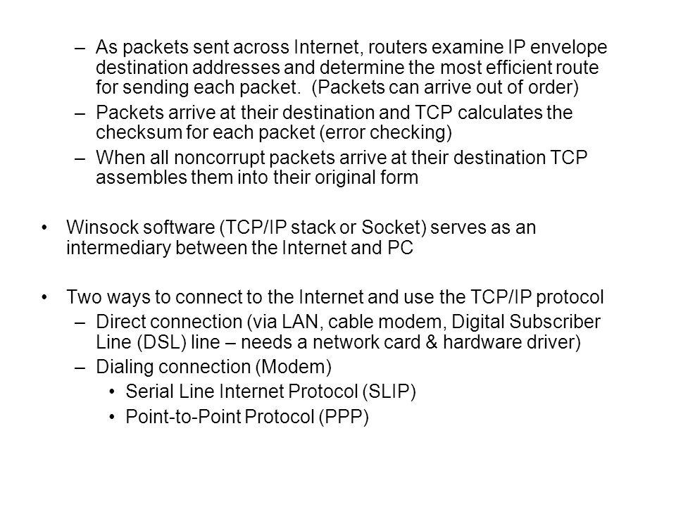 As packets sent across Internet, routers examine IP envelope destination addresses and determine the most efficient route for sending each packet. (Packets can arrive out of order)