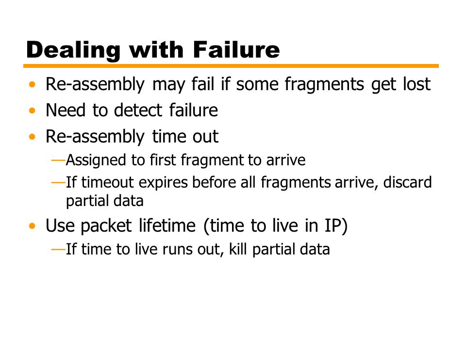 Dealing with Failure Re-assembly may fail if some fragments get lost