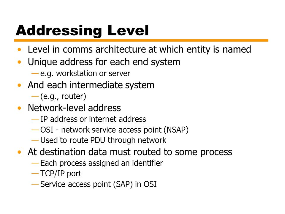 Addressing Level Level in comms architecture at which entity is named