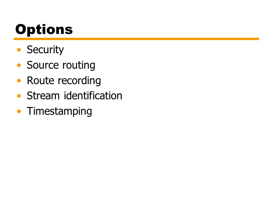 Options Security Source routing Route recording Stream identification