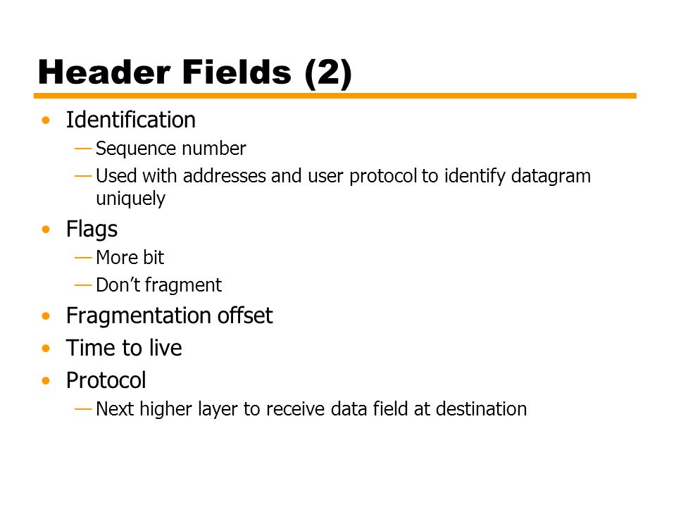Header Fields (2) Identification Flags Fragmentation offset