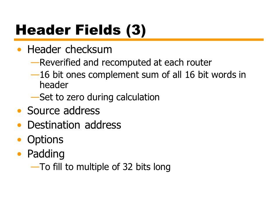 Header Fields (3) Header checksum Source address Destination address