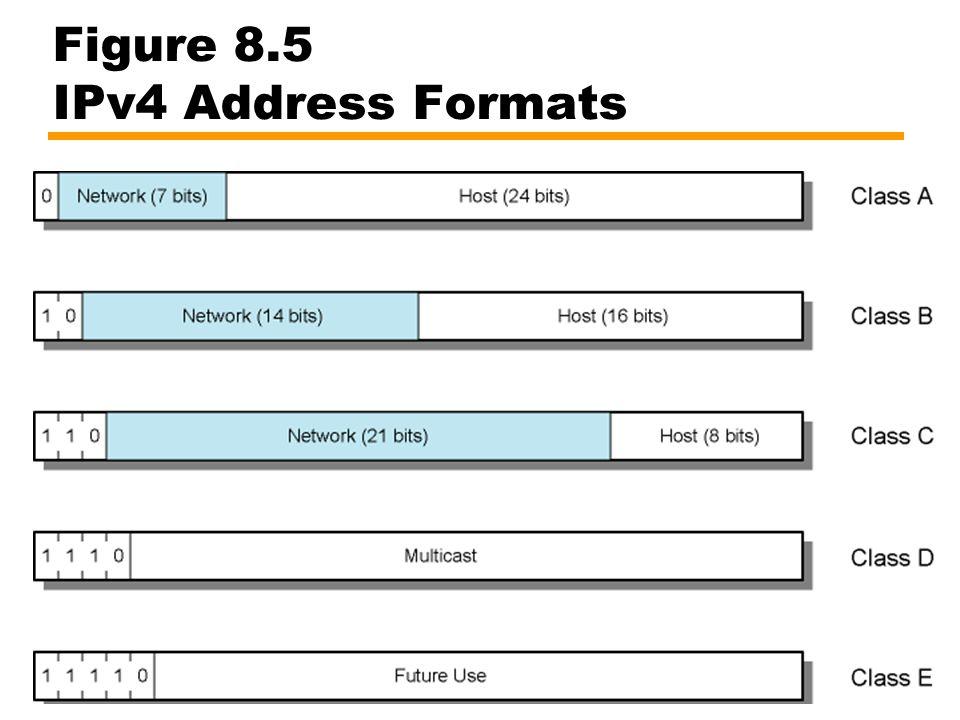 Figure 8.5 IPv4 Address Formats