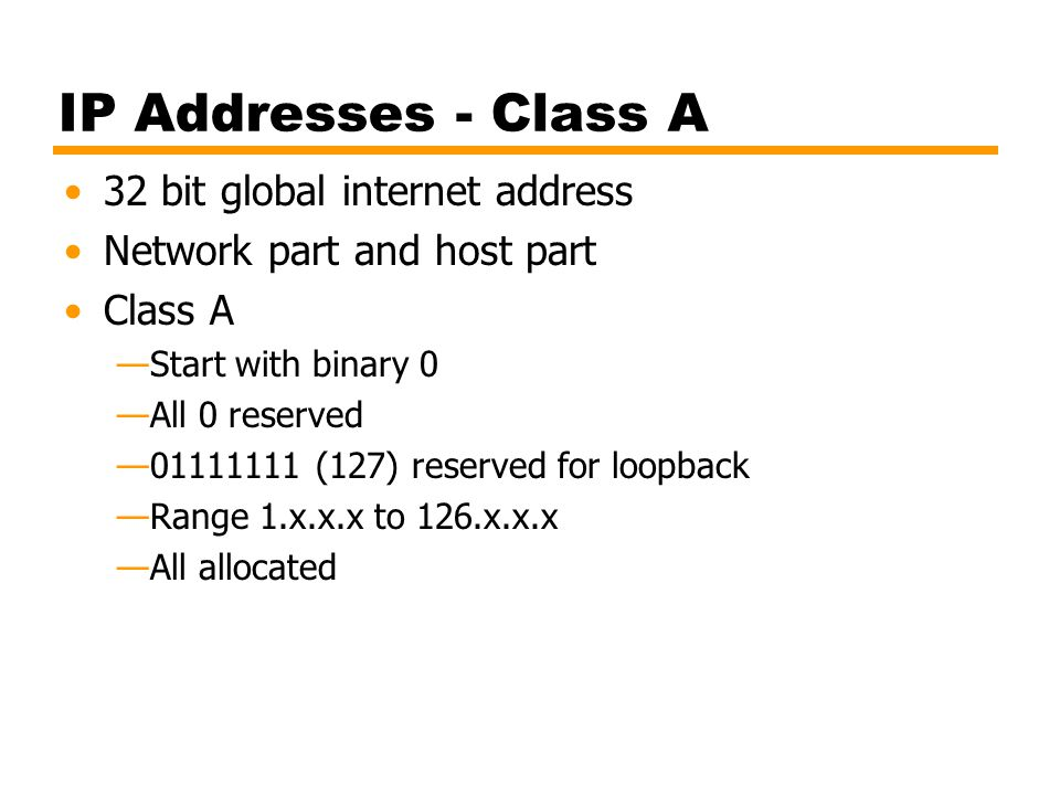 IP Addresses - Class A 32 bit global internet address