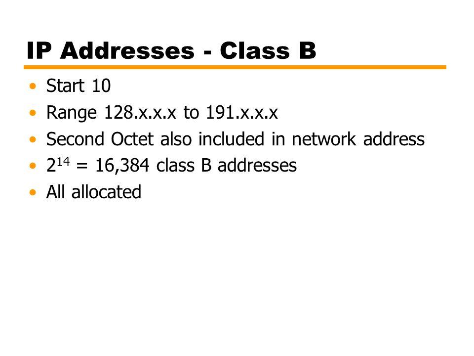 IP Addresses - Class B Start 10 Range 128.x.x.x to 191.x.x.x