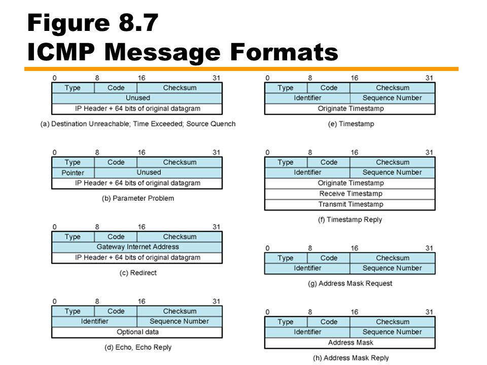 Figure 8.7 ICMP Message Formats
