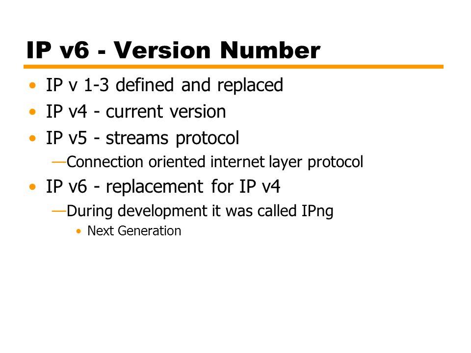 IP v6 - Version Number IP v 1-3 defined and replaced