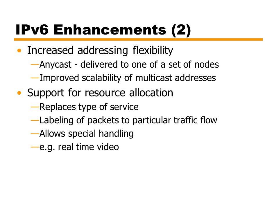 IPv6 Enhancements (2) Increased addressing flexibility