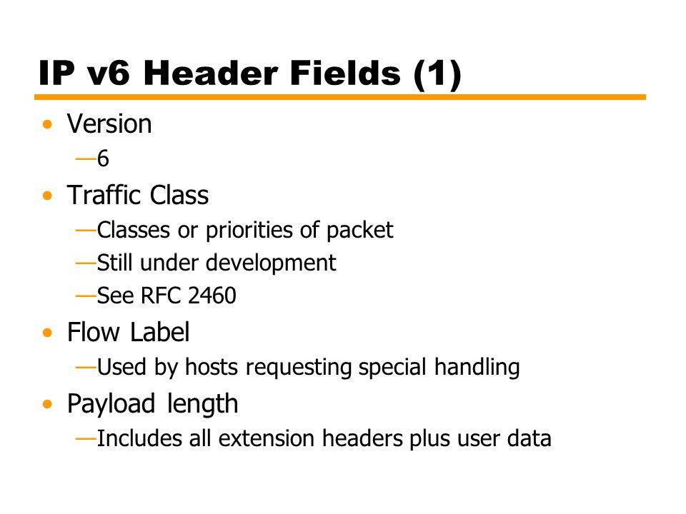 IP v6 Header Fields (1) Version Traffic Class Flow Label