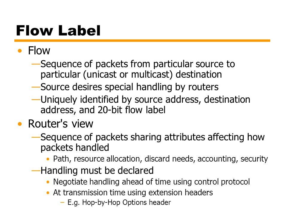 Flow Label Flow Router s view