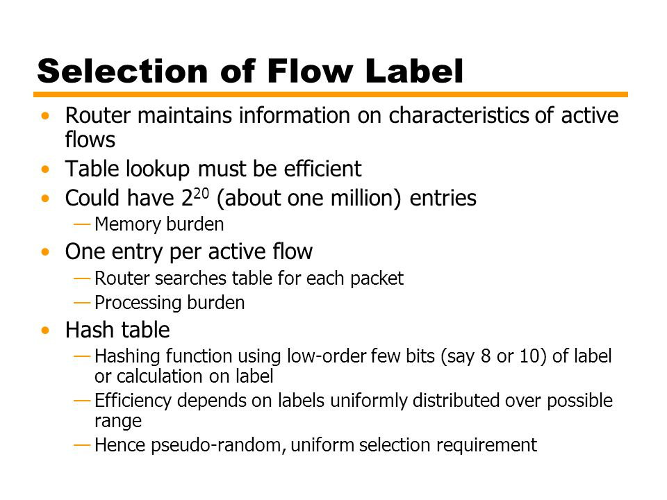 Selection of Flow Label