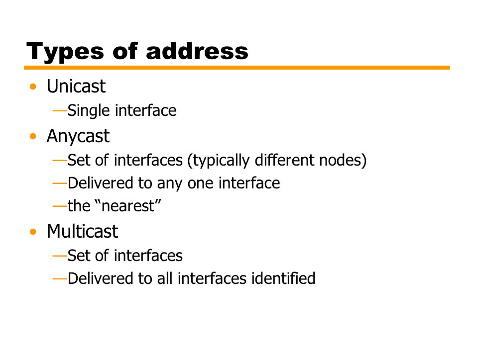 Types of address Unicast Anycast Multicast Single interface
