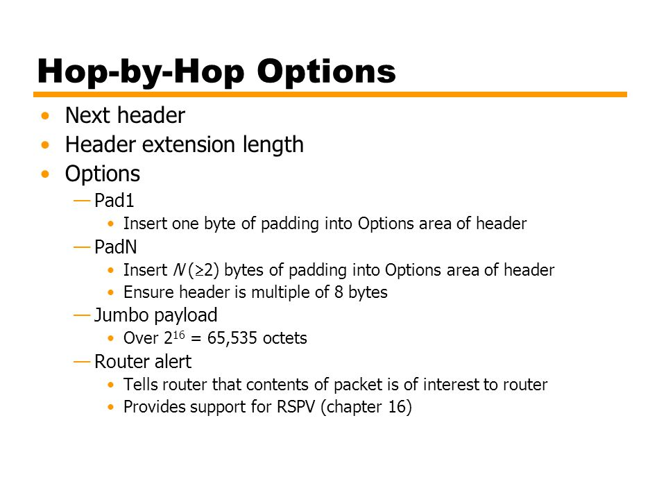 Hop-by-Hop Options Next header Header extension length Options Pad1