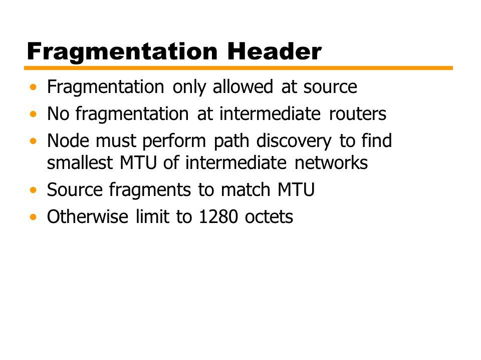 Fragmentation Header Fragmentation only allowed at source