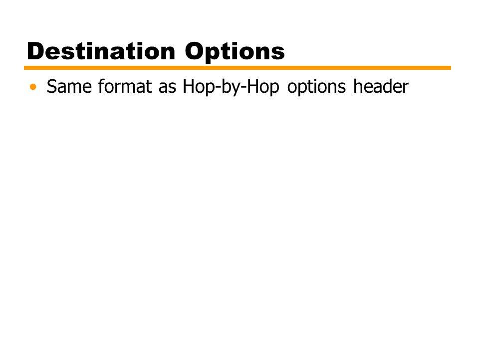 Destination Options Same format as Hop-by-Hop options header