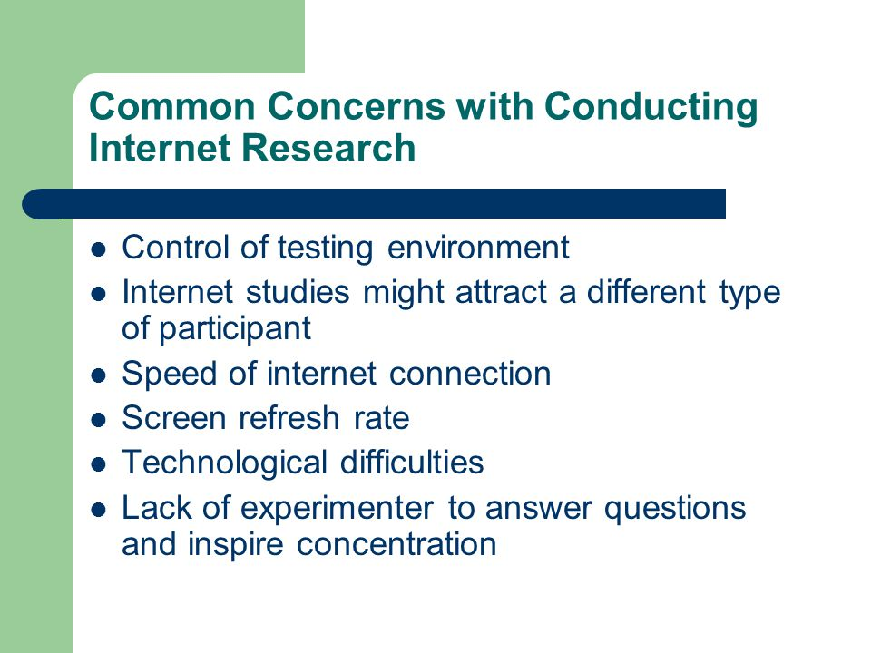Common Concerns with Conducting Internet Research