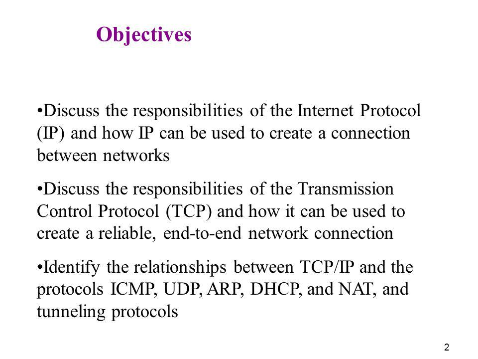 Objectives Discuss the responsibilities of the Internet Protocol (IP) and how IP can be used to create a connection between networks.