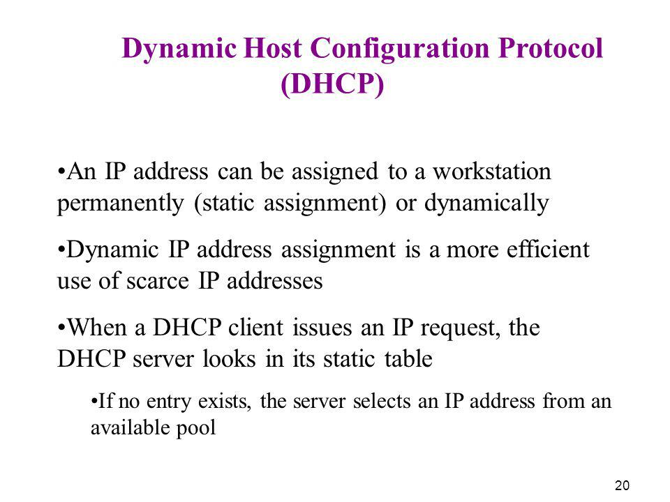 (DHCP) Dynamic Host Configuration Protocol