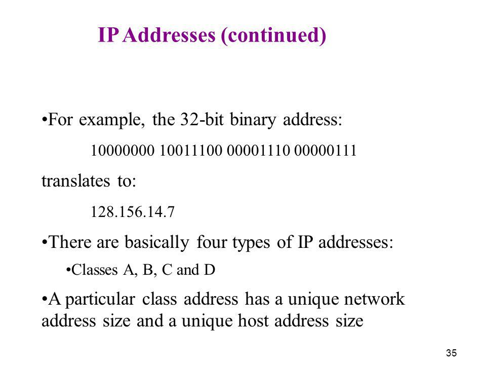 IP Addresses (continued)
