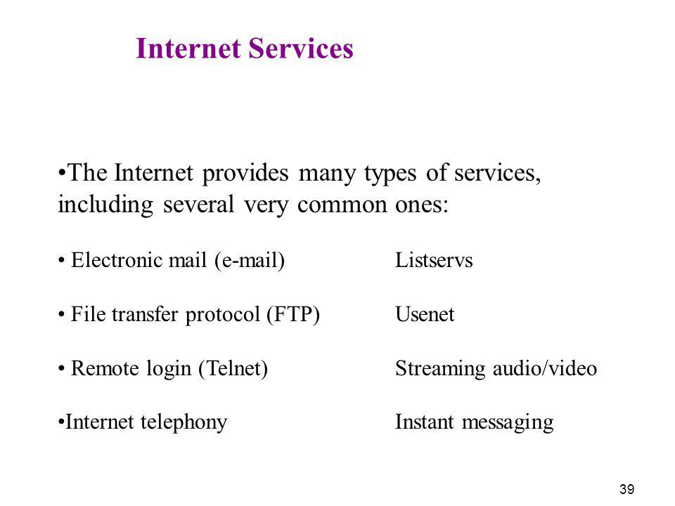 Internet Services The Internet provides many types of services, including several very common ones: