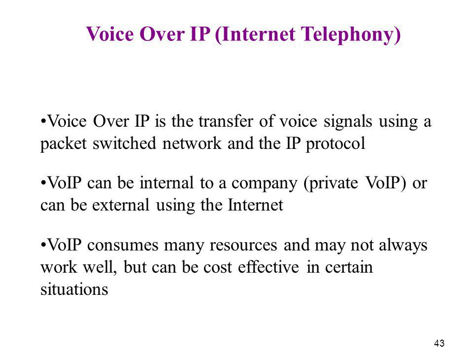 Voice Over IP (Internet Telephony)