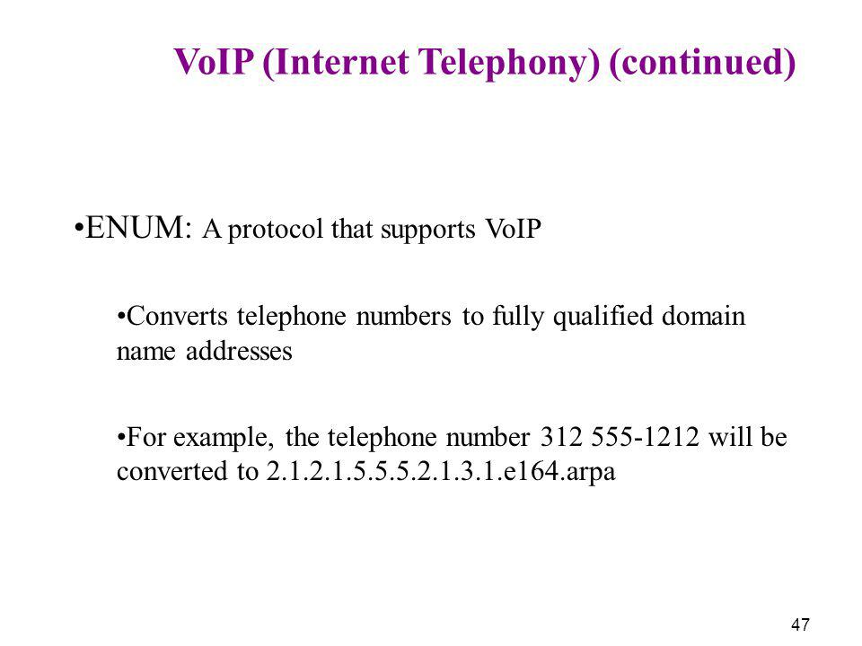 VoIP (Internet Telephony) (continued)