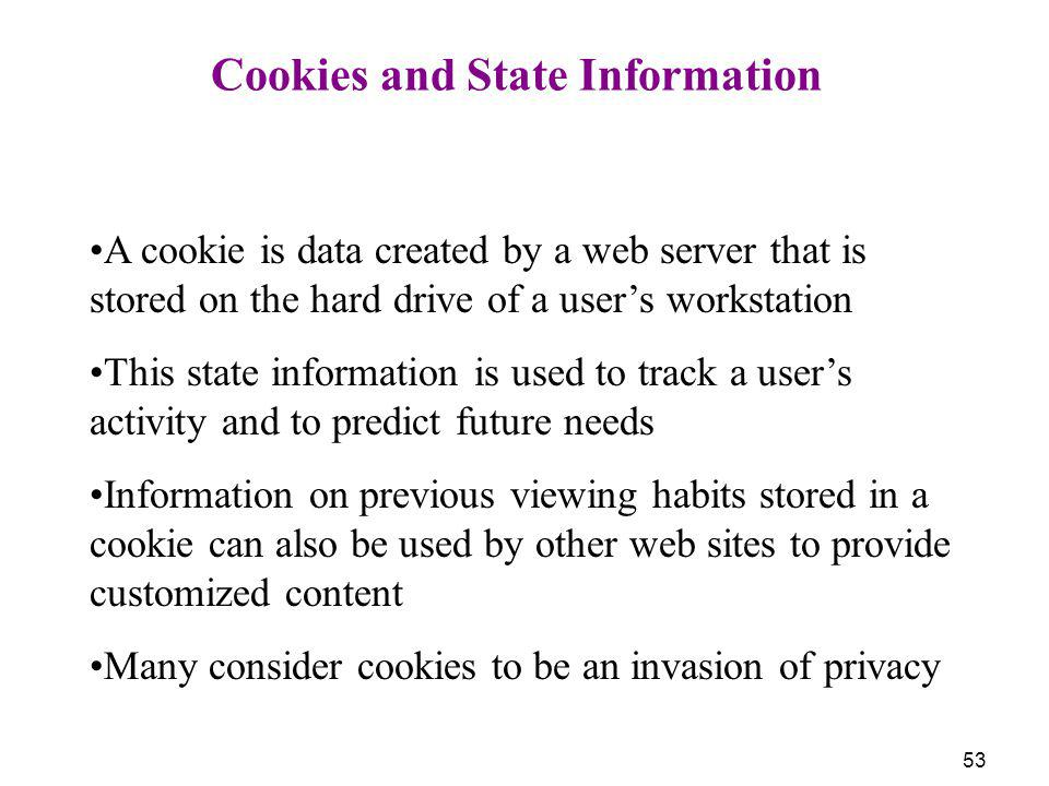 Cookies and State Information
