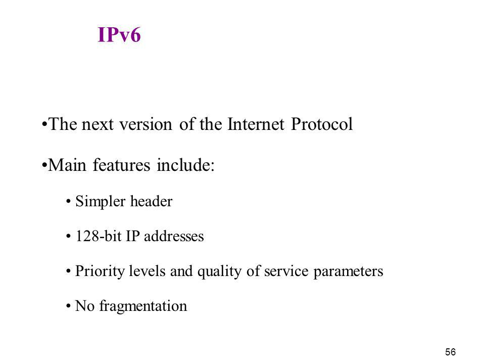 The next version of the Internet Protocol Main features include:
