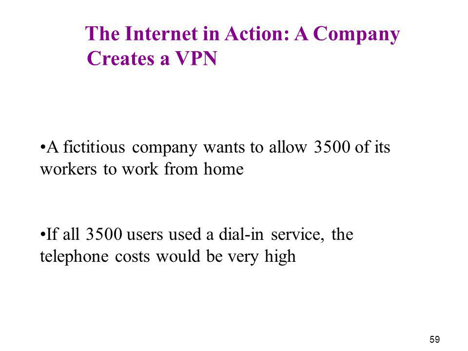Creates a VPN The Internet in Action: A Company