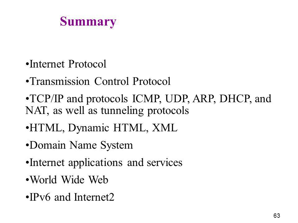 Summary Internet Protocol. Transmission Control Protocol. TCP/IP and protocols ICMP, UDP, ARP, DHCP, and NAT, as well as tunneling protocols.