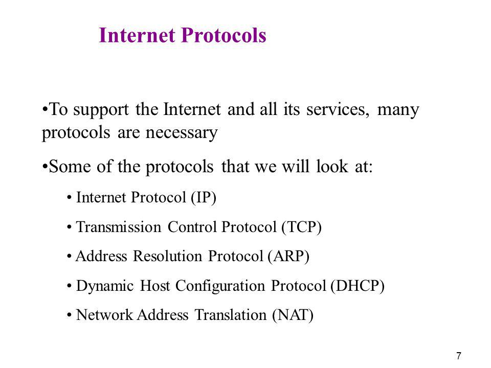Some of the protocols that we will look at: