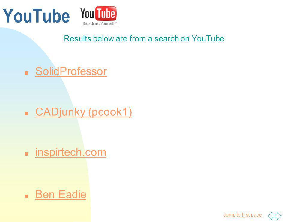 Results below are from a search on YouTube