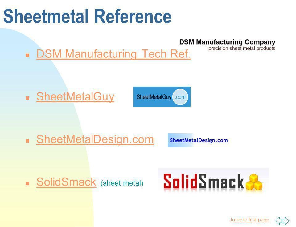 Sheetmetal Reference DSM Manufacturing Tech Ref. SheetMetalGuy