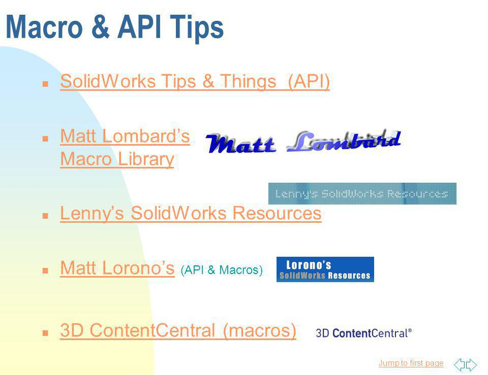 Macro & API Tips SolidWorks Tips & Things (API)