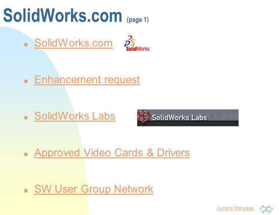 SolidWorks.com (page 1) SolidWorks.com Enhancement request