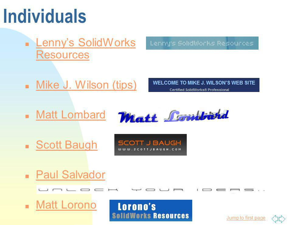 Individuals Lenny's SolidWorks Resources Mike J. Wilson (tips)