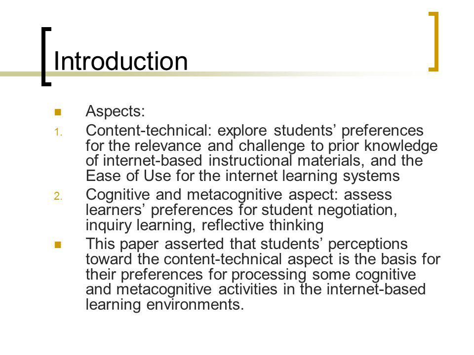 Introduction Aspects: