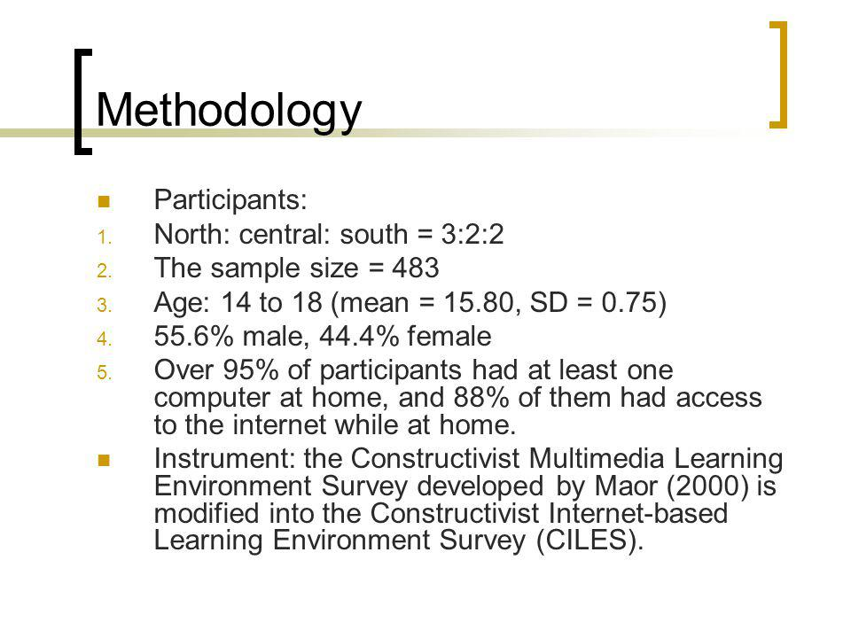 Methodology Participants: North: central: south = 3:2:2
