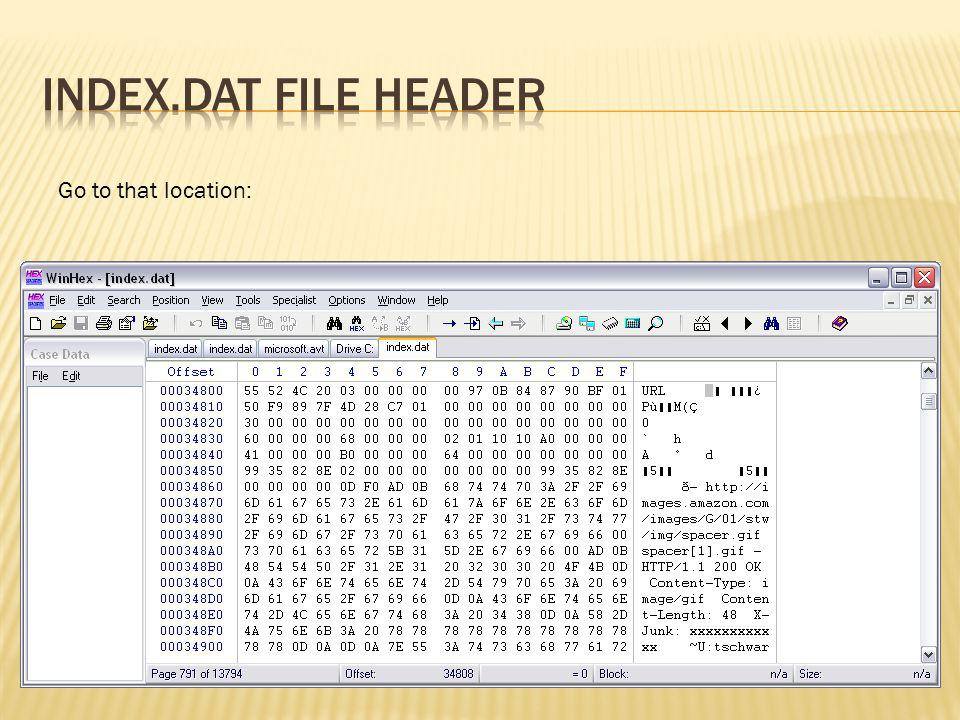 index.dat file header Go to that location: